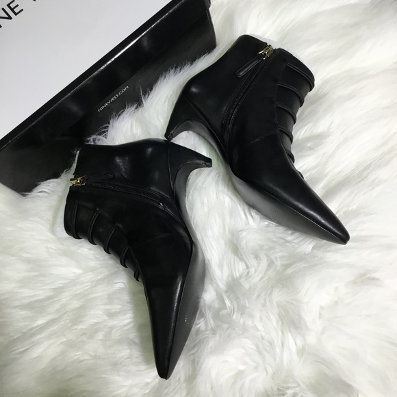 f7ec50aabac Nine West Pointy Toe Booties, Black Leather Boutique